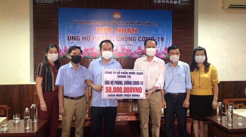 Công ty cổ phần nước sạch Quảng Trị ủng hộ quỹ phòng chống dịch bệnh covid-19 tỉnh Quảng Trị (Mặt trận Tổ quốc Việt Nam tỉnh)